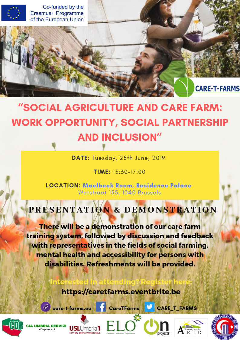 Social agriculture and care farm work opportunity social partnership and inclusion Confirmed Venue